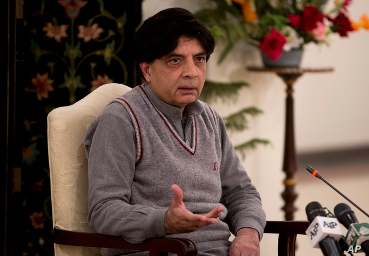 Pakistani Interior Minister Chaudary Nisar Ali Khan addresses a news conference in Islamabad, Pakistan, March 17, 2016.