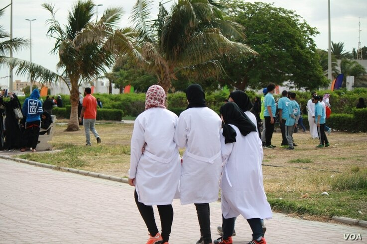 FILE - Young Saudi activists prepare for an athletic event they say helps handicapped children become more fit and integrate with society in Jeddah, Saudi Arabia, January 2016. Saudi journalist Khaled Almaeena suggests some numbers from the Arab Yout...
