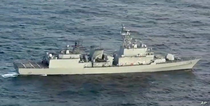 In this image made from video released, Dec. 28, 2018, by the Japan Maritime Self-Defense Force, a South Korean naval warship is seen as it allegedly locks its fire-control radar on a Japanese warplane, Dec. 21, 2018, in the disputed waters north of ...