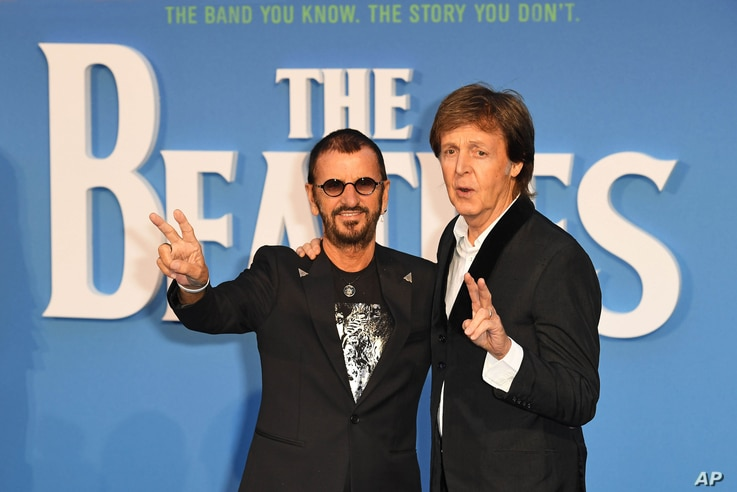 """Ringo Starr, left, and Paul McCartney at the London premiere of """"The Beatles: Eight Days A Week - The Touring Years,"""" Sept. 15, 2016."""