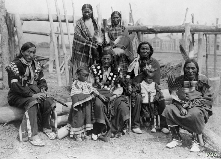 Lakota family, 1904.  From 1878 onwards, tens of thousands of Native Americans were forced by the US government to attend boarding schools, a prime factor in the decline of indigenous languages across the U.S.  Photo courtesy Florentine Films/Hott Pr...