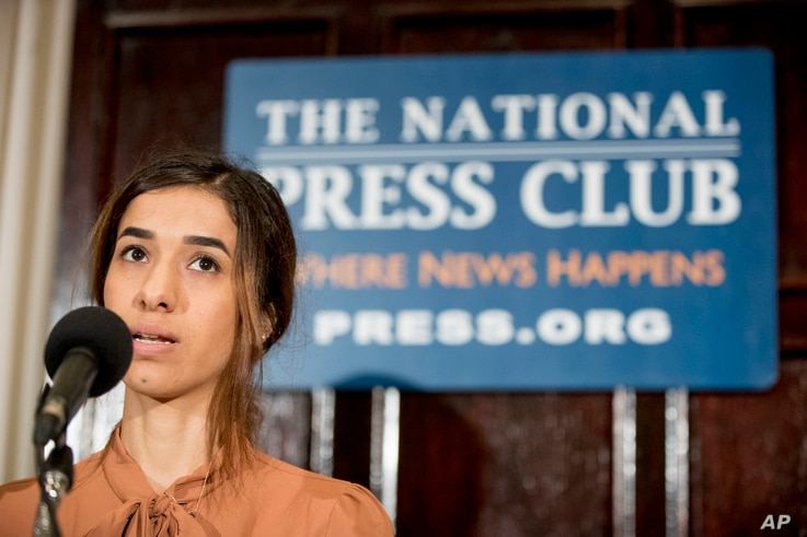 Nadia Murad, co-recipient of the 2018 Nobel Peace Prize, speaks at a news conference at the National Press Club in Washington, Oct. 8, 2018.