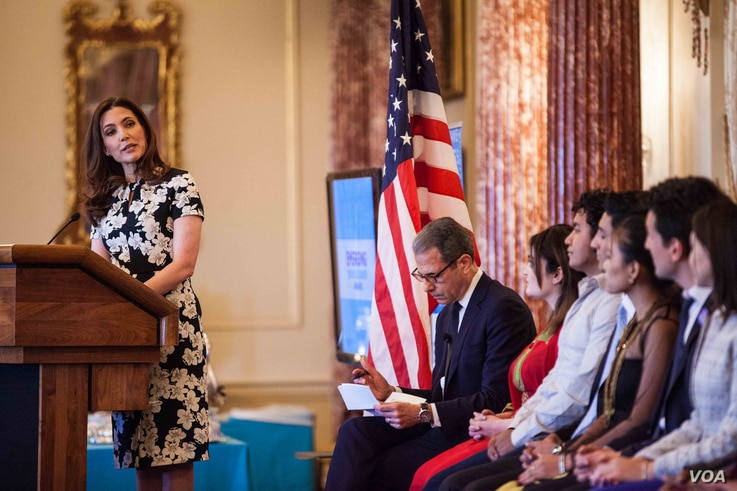 Evan Ryan, Assistant Secretary of State for Educational and Cultural Affairs, speaks at the Emerging Young Leaders Ceremony at the U.S. Department of State in Washington, D.C., April 20, 2016.