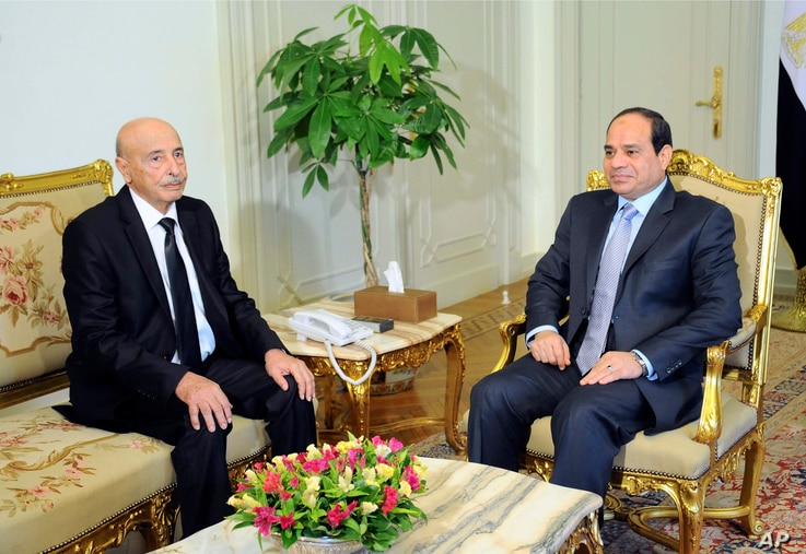 In this photo provided by Egypt's state news agency MENA, speaker of the Libyan Parliament Ageila Saleh Eissa, left, meets Egyptian President Abdel-Fattah el-Sissi at the presidential palace in Cairo, Egypt, Tuesday, Aug. 26, 2014. A delegation of Li...