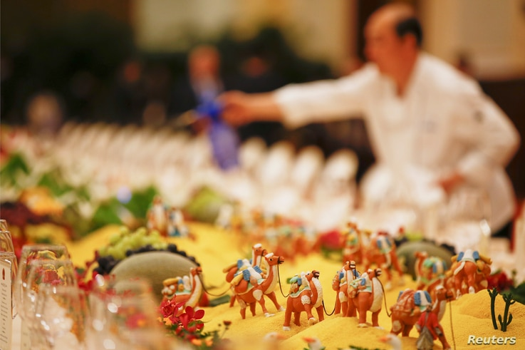 The table prepared for heads of states at the Great Hall of the People during the Belt and Road Forum in Beijing, China May 14, 2017.