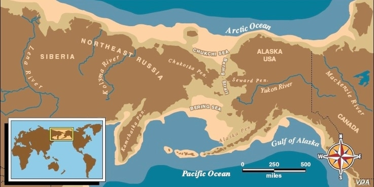 Map of eastern Russian and Alaska with a light brown boarder depicting Beringia, where archaeolosits believe ancient Americans crossed from Siberia into Alaska around 13,000 years ago. Courtesy, U.S. National Park Service.