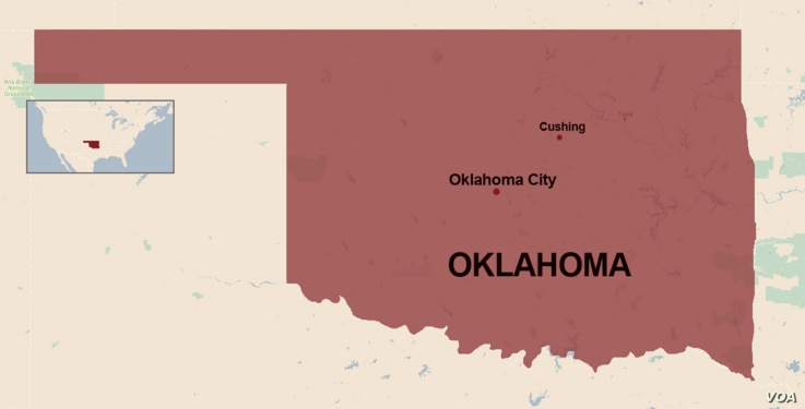 A map showing the location of Cushing, Oklahoma.