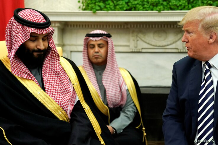 U.S. President Donald Trump delivers remarks as he welcomes Saudi Arabia's Crown Prince Mohammed bin Salman in the Oval Office at the White House in Washington, March 20, 2018.