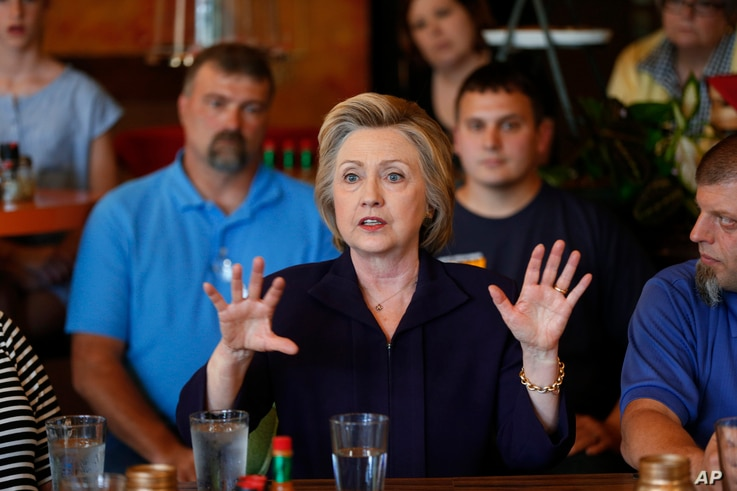 Democratic presidential candidate Hillary Clinton speaks to steelworkers in Ashland, Ky., May 2, 2016.