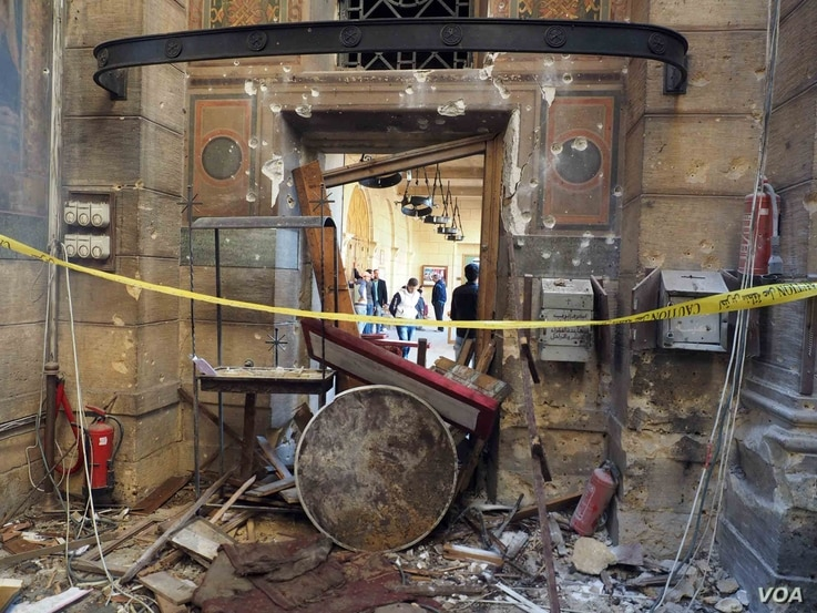 "Leftovers from the explosion inside the ""Botrosia"" church in Abbassya, the blast affected the church building's structure, in Cairo, Egypt, Dec.11, 2016."