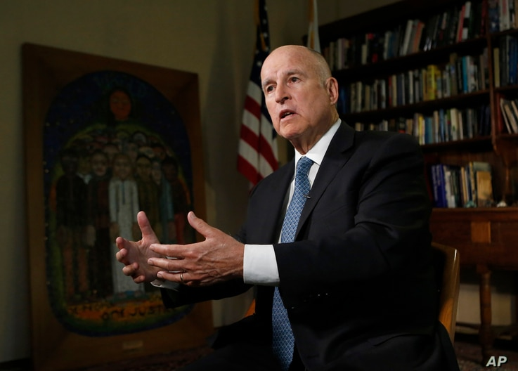Gov. Jerry Brown discusses the goals of the global climate summit he is hosting in San Francisco and legislation he signed directing California to phase out fossil fuels for electricity by 2045 during an interview with The Associated Press.