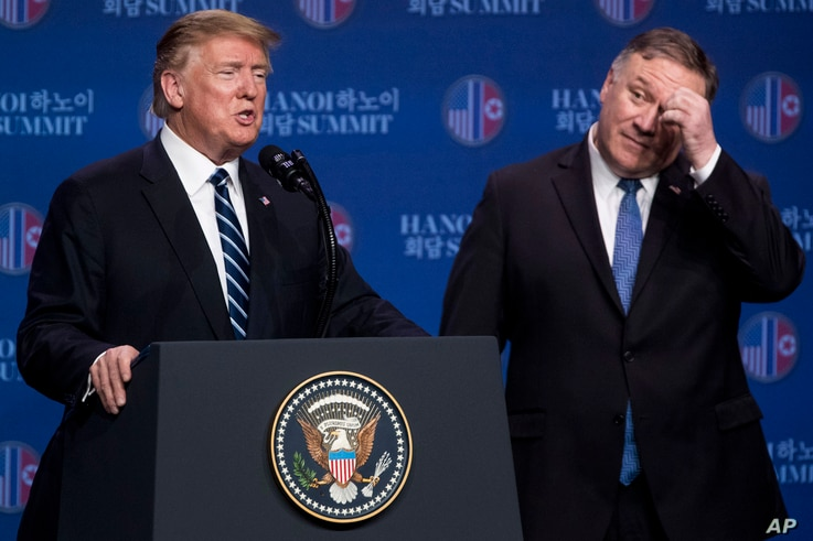 FILE - In this Feb. 28, 2019, photo, U.S. President Donald Trump, accompanied by Secretary of State Mike Pompeo, speaks at a news conference in Hanoi, following talks with North Korean leader Kim Jong Un. Trump said he walked away from his second sum...