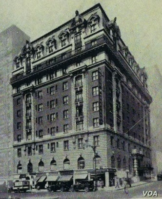 The Hotel Marseilles, built in 1905, temporarily housed post-war Jewish refugees. The Beaux-Arts building was designated a landmark in 1990, and today is a luxury residential apartment building. (Courtesy - Center for Traditional Music and Dance)