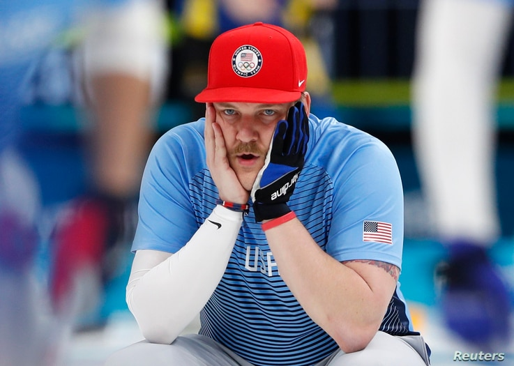 Second Matt Hamilton of the U.S. men's curling team reacts. The team upset Sweden to win the first gold medal for curling in U.S history, Feb. 24, 2018, in Gangneung, South Korea.