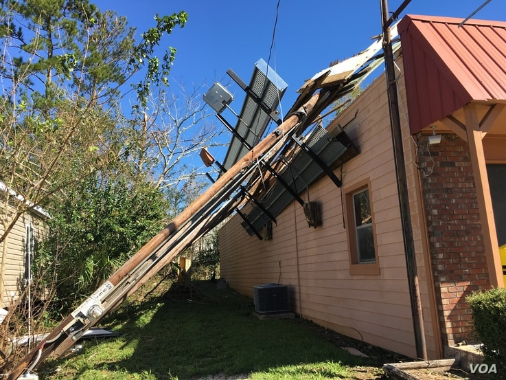 Marianna, Florida, is 90 kilometers from where Hurricane Michael made landfall, but it still suffered damage.