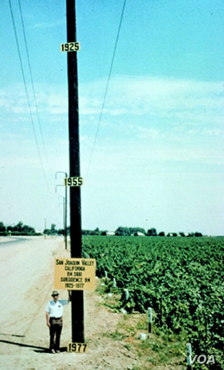 Historic 1977 photo depicting the location of maximum land subsidence in the U.S., near Mendota, CA in the San Joaquin Valley. Joseph Poland (pictured), USGS, scientific subsidence studies pioneer, placed the date signs to indicate previous elevation...