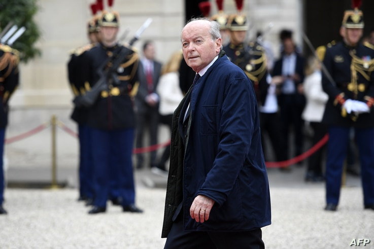 FILE - French Ombudsman (Defenseur des droits) Jacques Toubon arrives at the Elysee presidential Palace to attend Emmanuel Macron's formal inauguration ceremony as French President on May 14, 2017 in Paris.