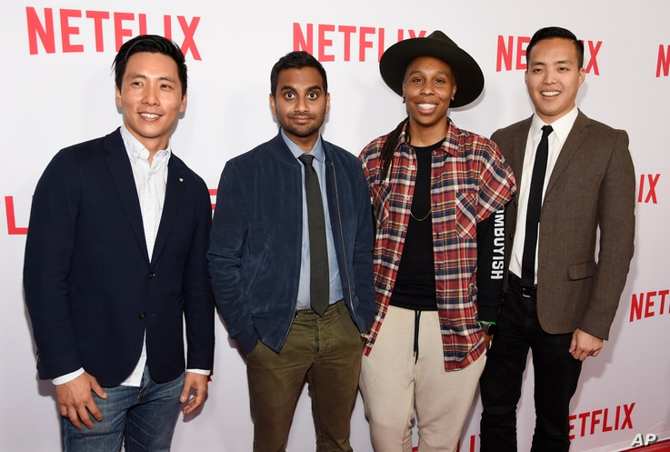 "Aziz Ansari, second from left, the star, writer, director and co-creator of the Netflix series ""Master of None,"" poses with cast members, Kelvin Yu, left, and Lena Waithe, second right, and co-creator/executive producer Alan Yang, right, at a screeni..."