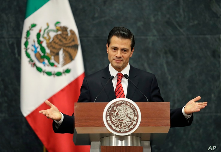 Mexico's President Enrique Pena Nieto said in a brief televised address Nov. 9, 2016, that he has spoken with U.S. President-elect Donald Trump to congratulate him and his family. He said they agreed to meet during the transition period to discuss th