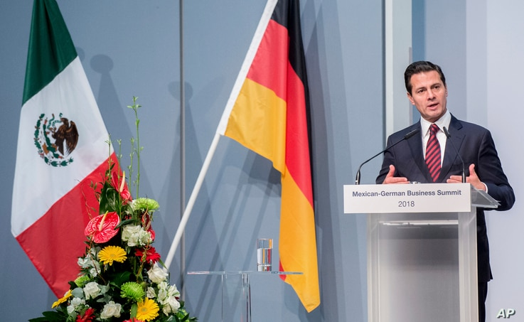 Mexican President Enrique Pena Nieto speaks at the Mexican-German Business Summit at the Hanover Fair, in Hanover, Germany, April 23, 2018.