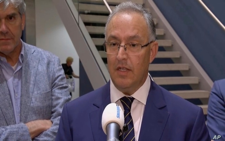 In this image taken from video, Rotterdam Mayor Ahmed Aboutaleb speaks to reporters in his city, Aug. 23, 2017, after a concert by an American band was canceled Wednesday night following a threat.