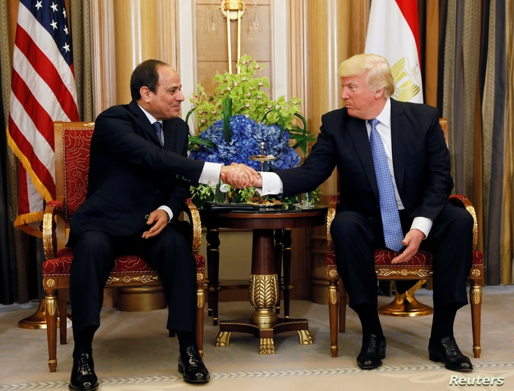 U.S. President Donald Trump meets with Egyptian President Abdel Fattah al-Sisi in Riyadh, Saudi Arabia, May 21, 2017.