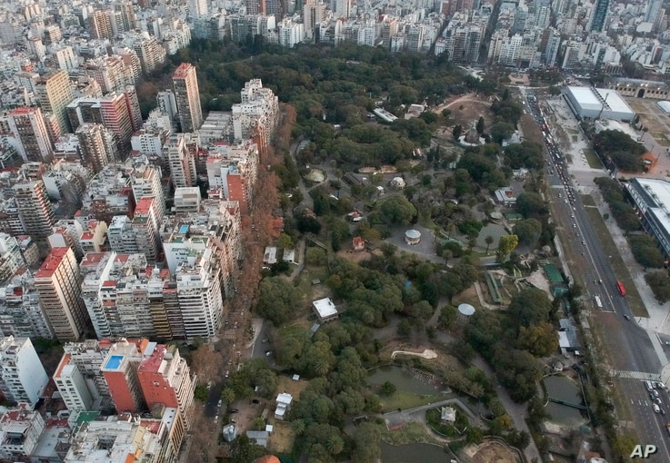 An aerial view of the Eco-park in Buenos Aires, Argentina, Aug. 7, 2018. The zoo was inaugurated in 1875 on what was then a quiet patch on the outskirts of Buenos Aires. But with time, the zoo became surrounded by a sprawling urban zone.