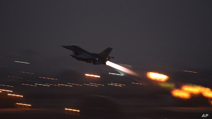 FILE - In an image provided by the U.S. Air Force, an F-16 Fighting Falcon takes off from Incirlik Air Base, Turkey, Aug. 12, 2015, to launch airstrikes against Islamic State targets in Syria.