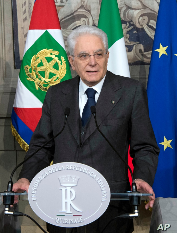 Italian President Sergio Mattarella talks to the media at the end of the second round of consultations, at the Quirinale Presidential Palace, in Rome, April 13, 2018.