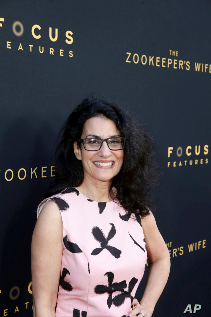 """Screenwriter Angela Workman seen at Los Angeles Premiere of Focus Features' """"The Zookeeper's Wife"""" at ArcLight Hollywood, March 27, 2017, in Los Angeles."""