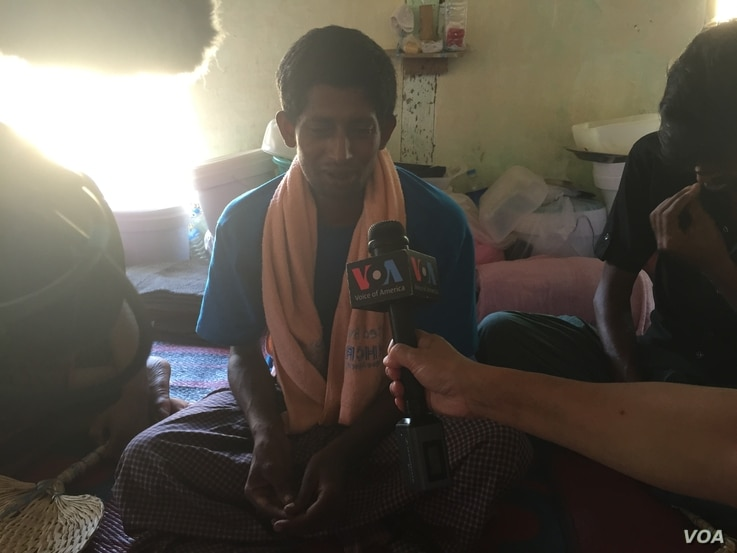 Mahmoud speaks to VOA in a detention camp near Taung Pyo, Myanmar. (Colin Lovett/VOA News)