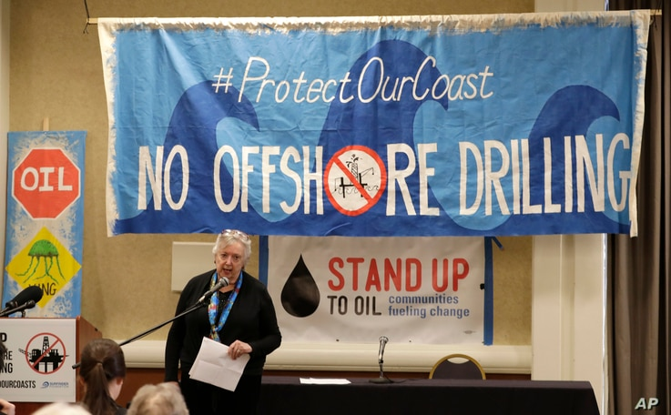 Crystal Dingler, the mayor of Ocean Shores, Wash., speaks at a hearing in Olympia, Wash., organized by a coalition of environmental groups opposed to the Trump administration's proposal to expand offshore oil drilling off the Pacific Northwest coast,...