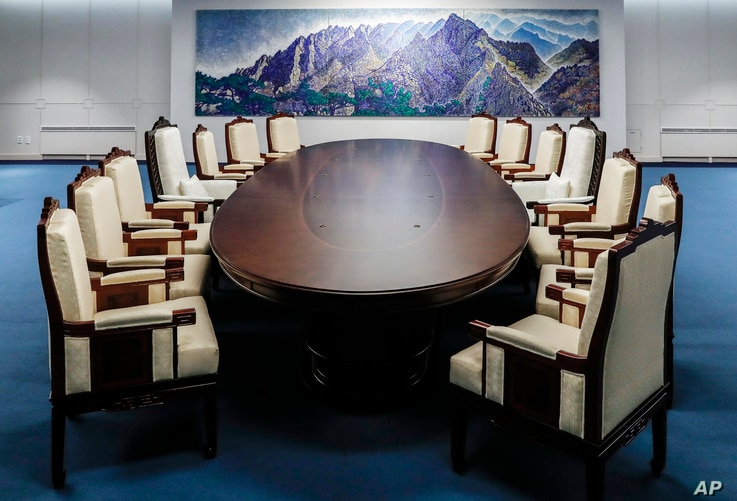 This is a meeting room for the April 27 summit between South and North Korea at the Peace House at the southern side of the Panmunjom in the Demilitarized Zone, South Korea. The photo was provided by South Korea Presidential Blue House, April 25, 201...