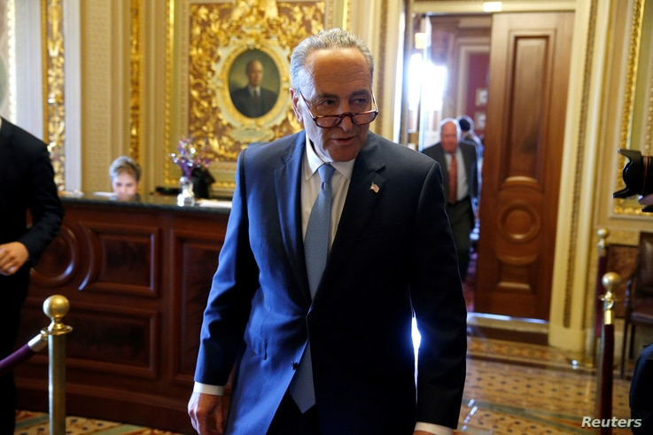 Senate Minority Chuck Schumer, D-N.Y., speaks to reporters after a Democratic caucus meeting at the U.S. Capitol in Washington, May 10, 2017.