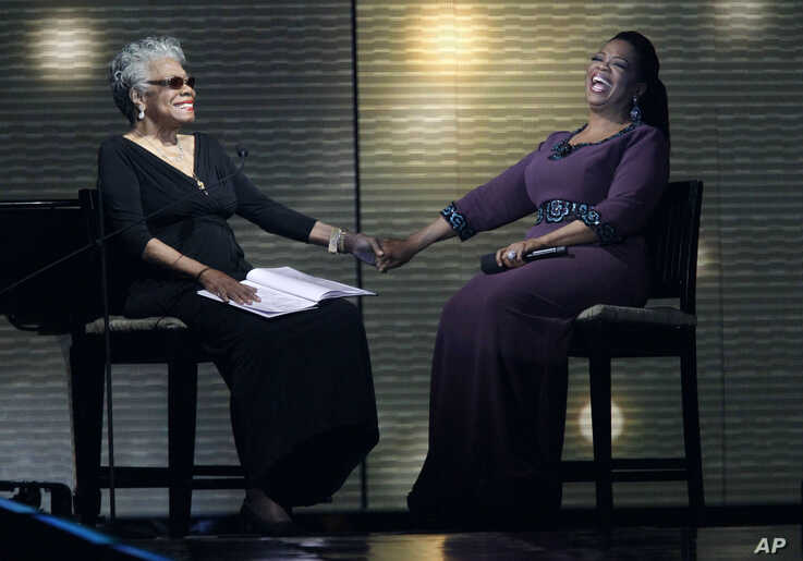 "Maya Angelou and Oprah Winfrey share laughs during a star-studded double-taping of ""Surprise Oprah! A Farewell Spectacular,"" Chicago, May 17, 2011."