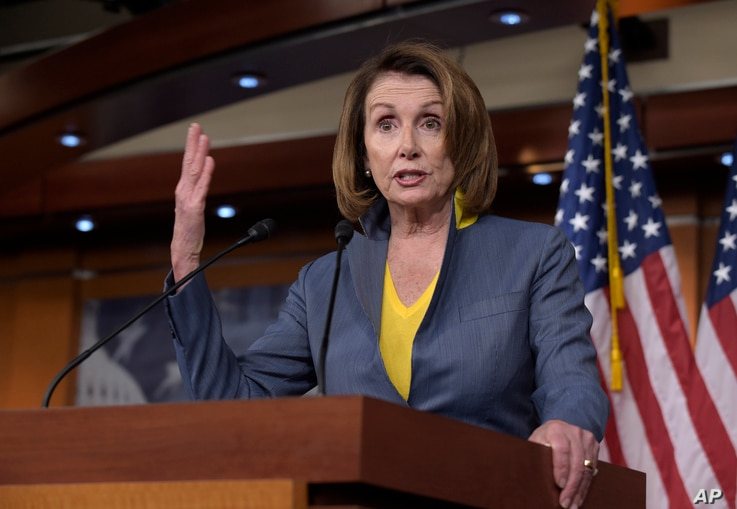 House Minority Leader Nancy Pelosi of Calif. speaks during a news conference on Capitol Hill in Washington, March 23, 2017.
