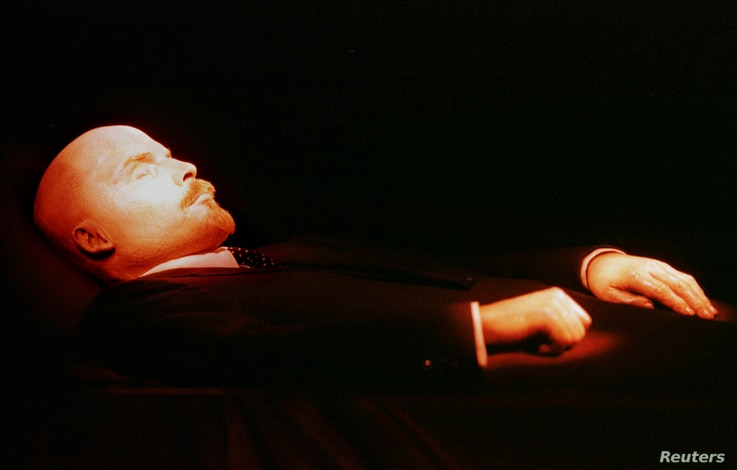 FILE - The body of the Bolshevik leader Vladimir Lenin lies in the Mausoleum on Red Square in Moscow, Russia, May,1997. Lenin died in 1924.