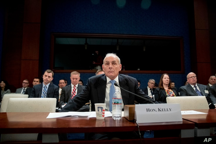 Homeland Security Secretary John Kelly listens to a question while testifying on Capitol Hill in Washington, Feb. 7, 2017, before the House Homeland Security Committee.