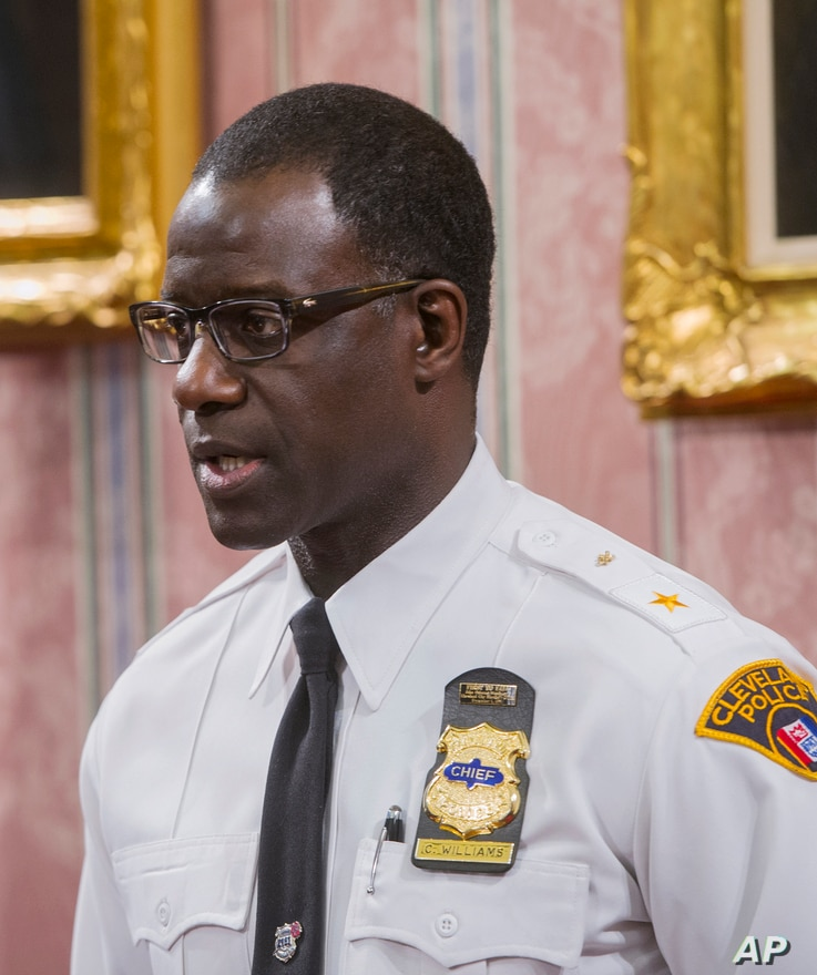 Cleveland police chief Calvin Williams answers questions during a news conference in Cleveland, Monday, Dec. 28, 2015.