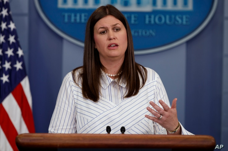 White House deputy press secretary Sarah Huckabee Sanders speaks during the daily press briefing, June 28, 2017, at the White House in Washington.