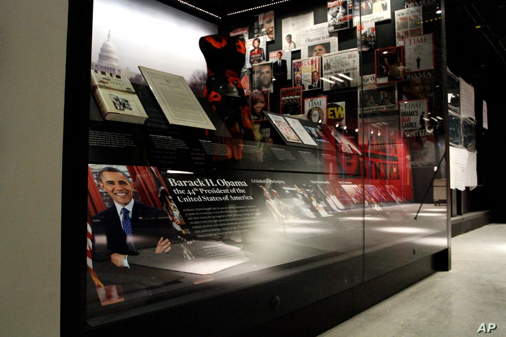 Smithsonian African American Museum: In this photo taken July 18, 2016, an exhibit depicting the presidency and the life of President Barack Obama and his family is seen during a media preview tour at the Smithsonian National Museum of African Americ...