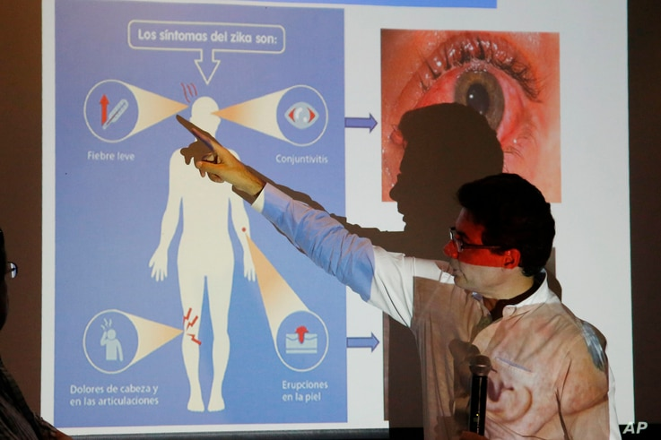 Colombia's Health Minister Alejandro Gaviria explains the symptoms of Zika during an event to launch a nationwide prevention campaign against the virus in Ibague, Colombia, Jan. 26, 2016.