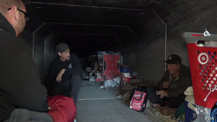 This drainage tunnel is home to about 30 homeless people in Las Vegas, Nevada.