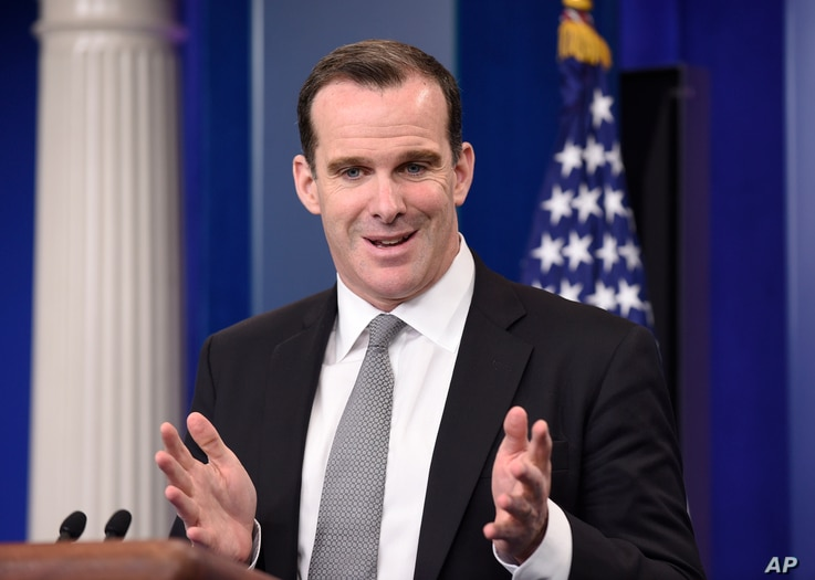 Brett McGurk, special presidential envoy for the global coalition to counter the Islamic State group, speaks during the daily briefing at the White House in Washington, June 10, 2016.