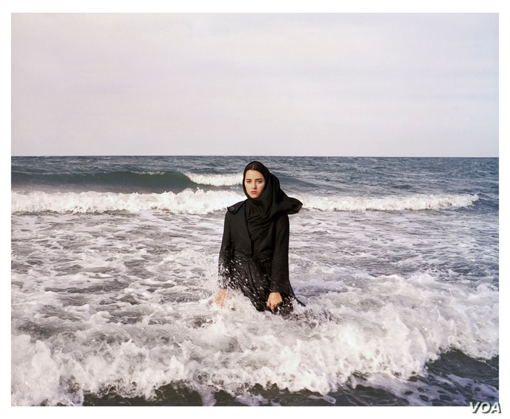 "Newsha Tavakolian, Untitled, from the series ""Listen,"" 2010; Pigment print, 39 3/8 x 47 1/4 in. (Courtesy of the artist and East Wing Contemporary Gallery)"