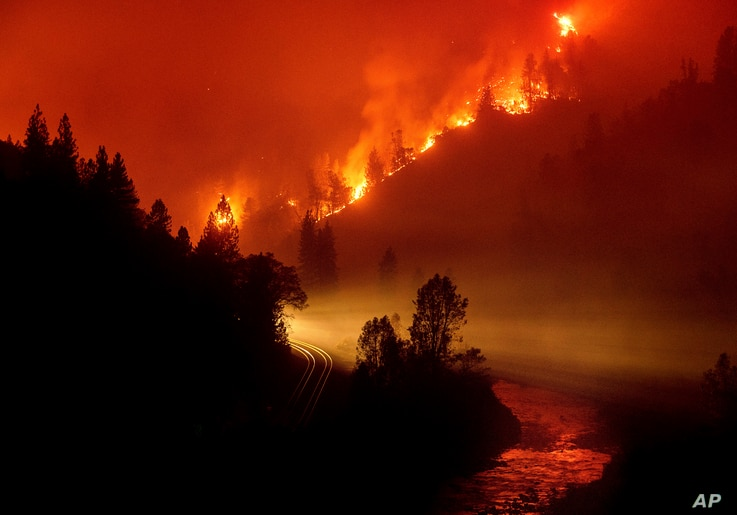 The Delta Fire burns in the Shasta-Trinity National Forest, Calif., on Sept. 6, 2018.