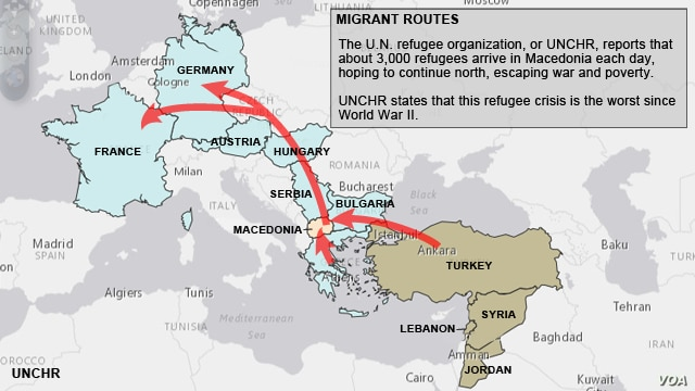 Migrant routes from mid-east