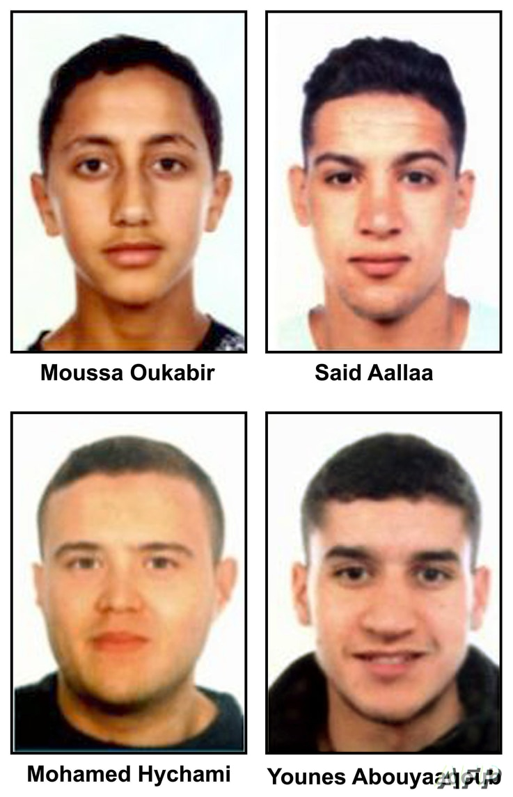 """A combo of handout images released by the Catalan regional police """"Mossos D'Esquadra"""" on August 18, 2017 shows four suspects of the Barcelona and Cambrils attacks, (from top L) Moussa Oukabir, Said Aalla, Mohamed Hychami and Younes Abouyaaqoub."""