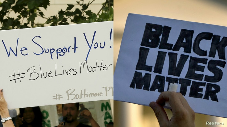"""From left, a Baltimore police supporter holds a """"Blue Lives Matter"""" poster, May 30, 2015; and a man holds a sign saying """"Black Lives Matter"""" during a protest of shootings by police by the White House in Washington, July 8, 2016."""