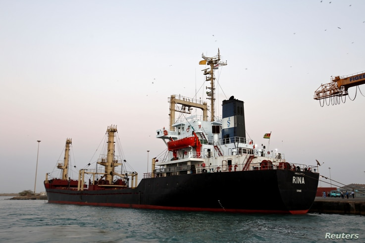 A ship carrying 5,500 metric tons of flour is docked at the Red Sea port of Hodeidah, Yemen, Nov. 26, 2017.